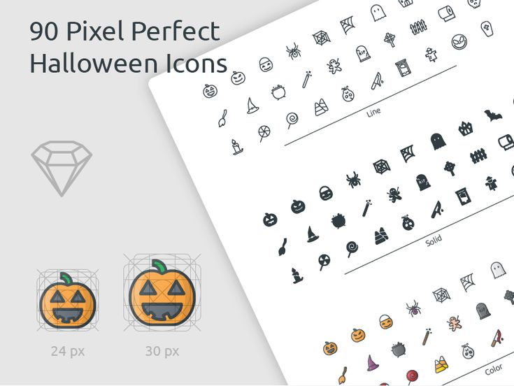 90 Pixel Perfect Halloween Icons