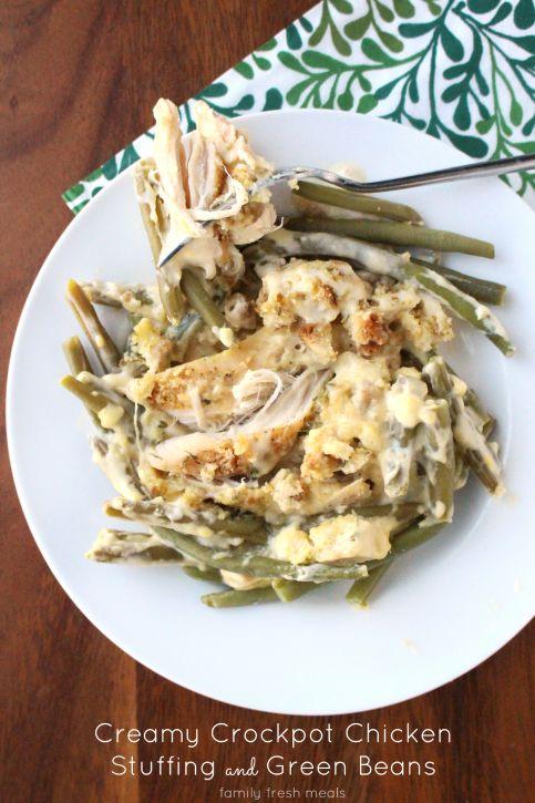 Creamy Crockpot Chicken Stuffing and Green Beans --- FamilyFreshMeals.com -