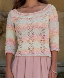 Free Knitting Pattern for Scoop Neck Lace Pullover