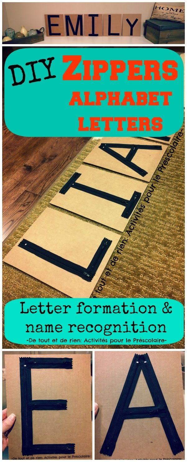 DIY zippers alphabet for learning letter formation