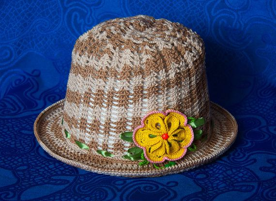 Crochet hat for girl 7-9 years old with crocheted flower