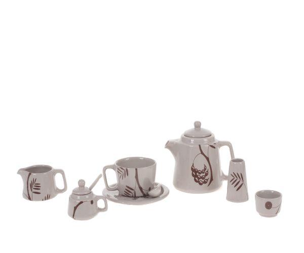 Acacia Tall Tea Stack for one in Cappuccino with Acacia Branch detail. #tea #set #decor #original #designer