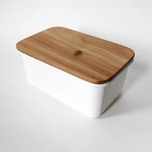 ENAMEL STORAGE BOXES with Teak Lids, $40.