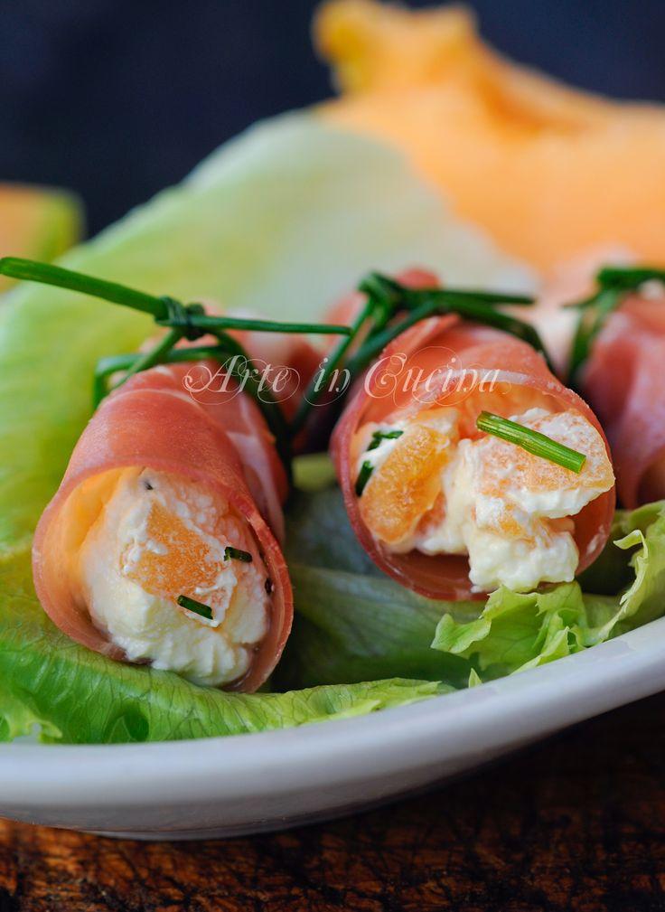 Involtini di prosciutto crudo melone e formaggio vickyart arte in cucina