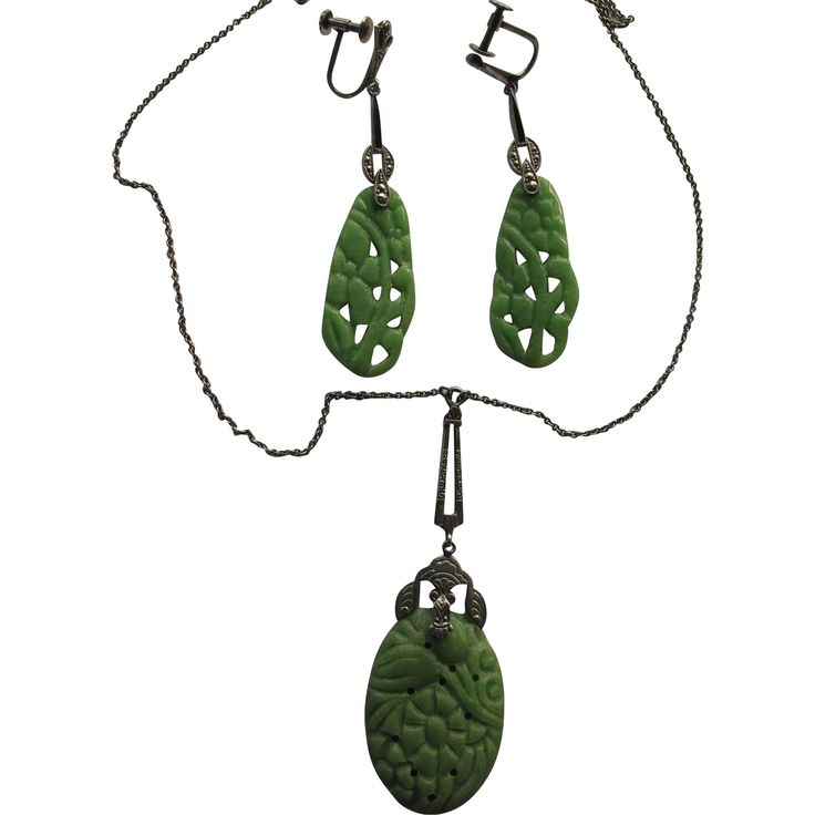 1151a Faux Jade Celluloid Marcasite Pendant Earrings Vintage Exclusively at Lee Caplan Vintage Collection on RubyLane