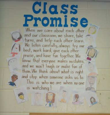 """I believe that having students create their own classroom rules can make a huge difference in the classroom. I like how this idea titled it """"class promise"""" and had the students pictures around it. This shows unity and sincerity among students."""