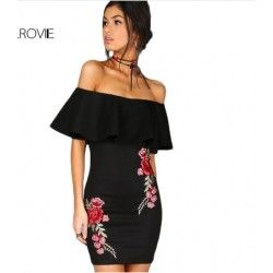 Off Shoulder Embroidery Party Dress