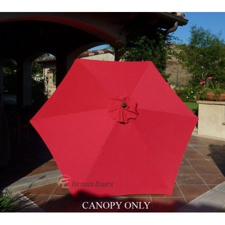 Formosa Covers 9ft Umbrella Replacement Canopy 6 Ribs In Red