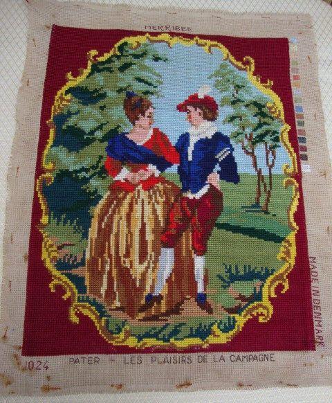 1960's Needlepoint Denmark Danish Cotton Tapestry by AnnasDream