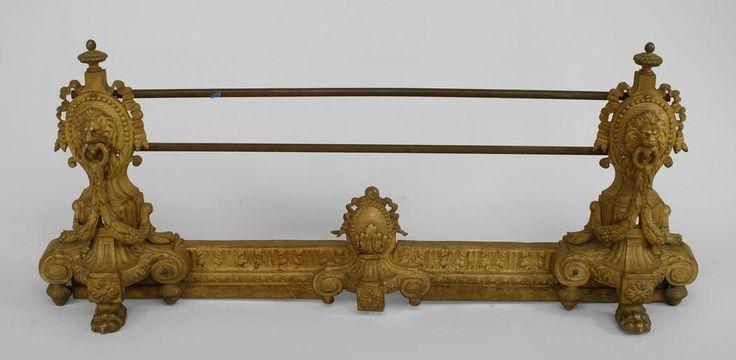 English Georgian fireplace accessory fender gilt