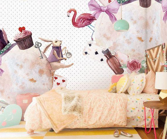 Rabbit Hole & Flamingo Tapeten Aquarell Alice im von DreamyWall