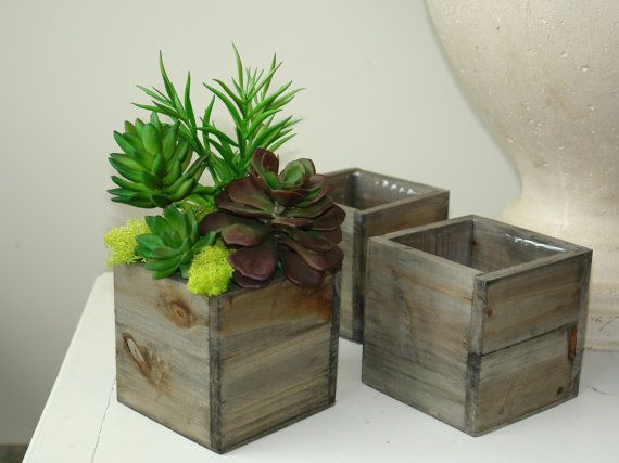 [ The rustic wood with the bright greens is just gorgeous. I think this would look great in any home. -Jen ]   wood box wood boxes square wood vase succulents by aniamelisa, $10.95