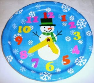 Winter Solstice and Snowman Paper Plate Clock