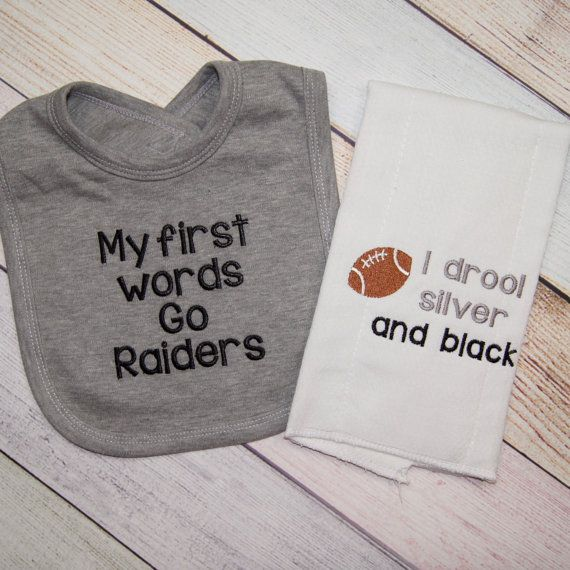 Oakland Raiders Baby Gift Set - Raider Baby Boy - Raider Baby Girl - Baby Shower Gift - Raiders Baby - My First Words - I drool silver