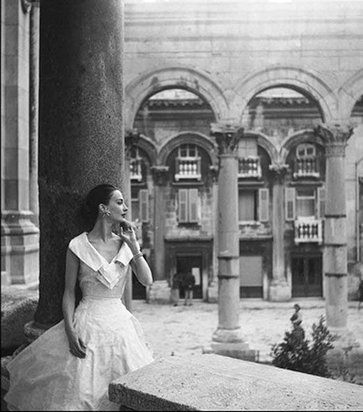 Maria Reachi in the castle of Diocletian, Yugoslavia 1955  by George Dambier