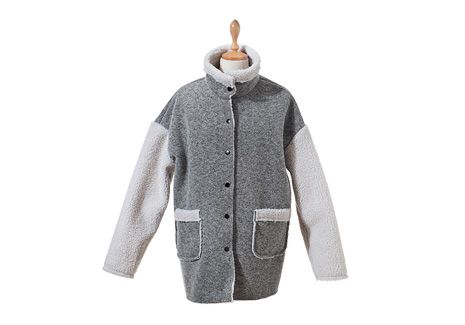 Fleece Paneled High Neck Coat