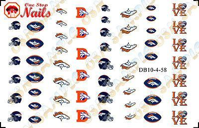 Set of 58 NFL Denver Broncos Nail Art Water Decals TOP Quality FAST SHIPPING! V4