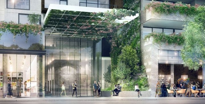 An artist's impression of the living wall at the entrance of Bohem. Adelaide