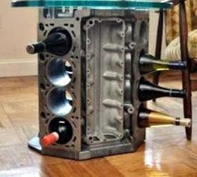 Just a car guy : Interior decorating with car parts art for the garage, or Car Guy bachelor pad