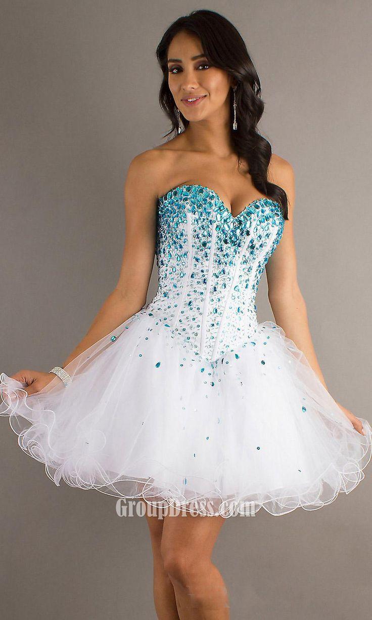 Impressive Corset Dresses Design : White Sweetheart Strapless Beaded Corset Bodice A Line Short Prom Dress