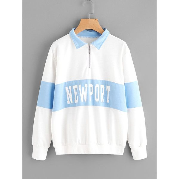 Color Block Letter Print Sweatshirt ❤ liked on Polyvore featuring tops, hoodies, sweatshirts, patterned tops, patterned sweatshirt, white top, white sweatshirt and print top
