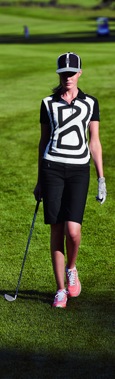 Go for an impressive look this season with this graphic oversize B polo in black and white.