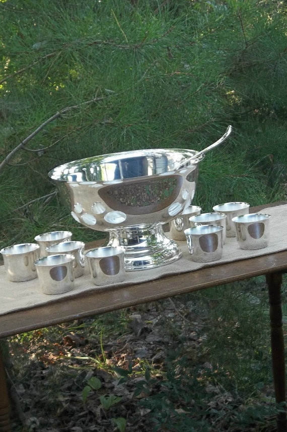 Antique Silver Punch Bowl And Punch Ladle Silver Plate