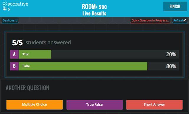 Socrative  Los exámenes en el navegador web. Es una herramienta alternativa interesante al papel y lápiz no solo para las calificaciones, sino incluso para los test semanales o diarios. Con Socrative, comprobar si los alumnos han seguido una lección es rápido y sencillo.