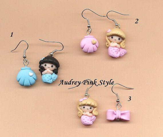 1 pair of earrings mermaid sirena ariel kawaii,cute chibi summer clay fimo on Etsy, $18.90 AUD