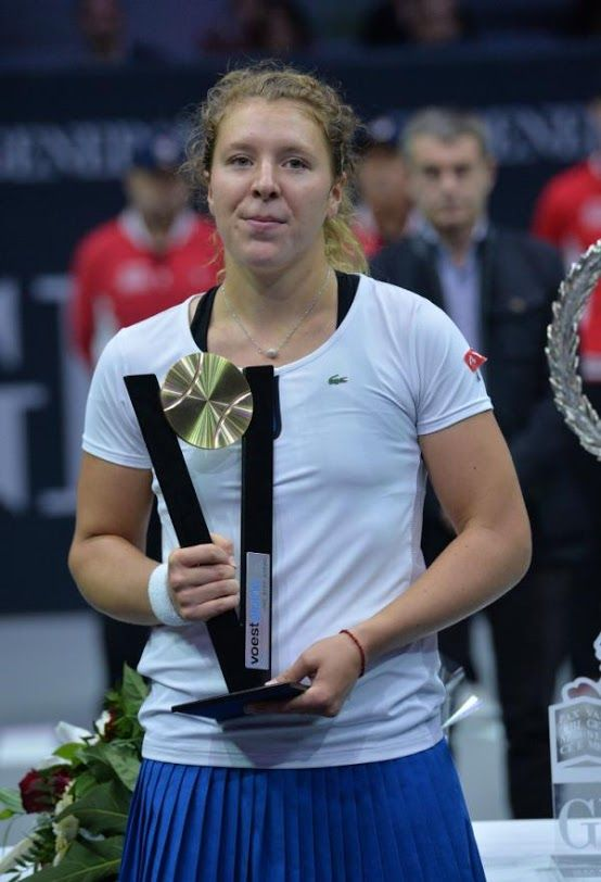 2015 Generali Ladies Linz Runner-Up: Germany's Anna-Lena Friedsam poses with her trophy after her final match against Russia's Anastasia Pavlyuchenkova ...