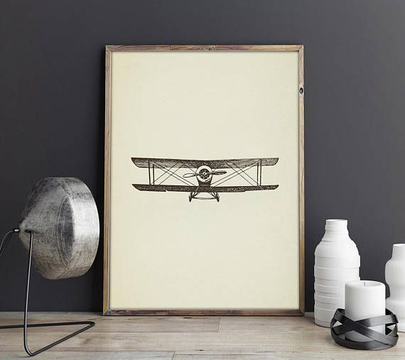 Plane Print, Vintage Airplane Art, Aeroplane Wall Art, Extra Large Print Poster, Lithograph, Drawing Printable, Aircraft; Gifts for Him, Dad, Father, Husband, Boyfriend, Friend; Christmas Xmas gift ideas