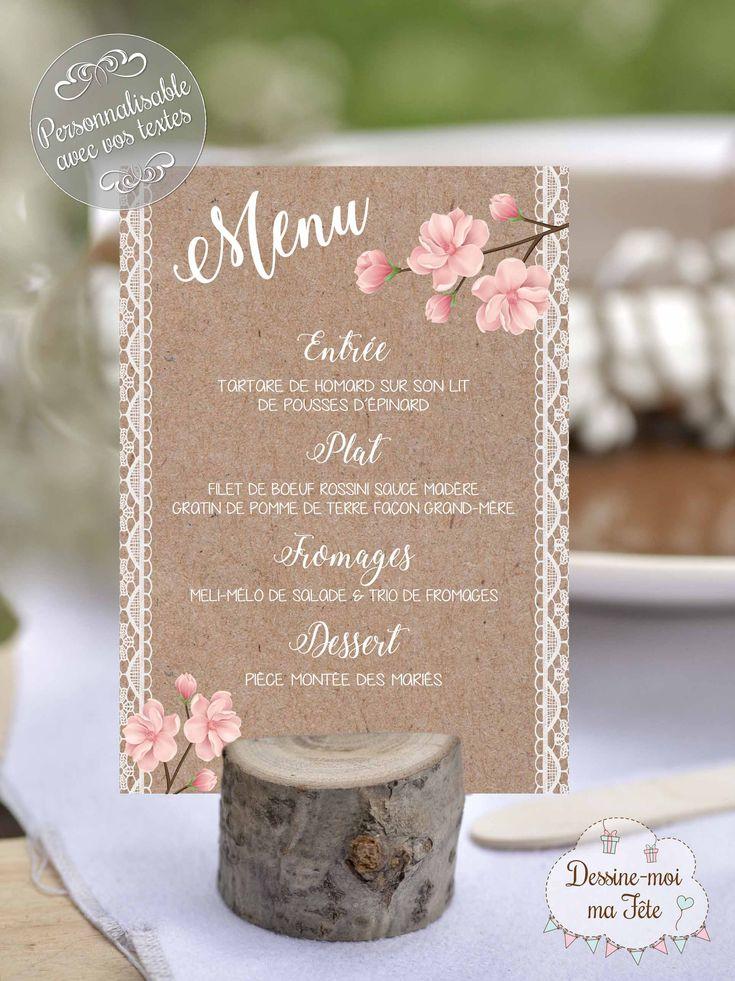 Un joli porte-menu composé d'une affichette au thème bohème, romantique (imit…