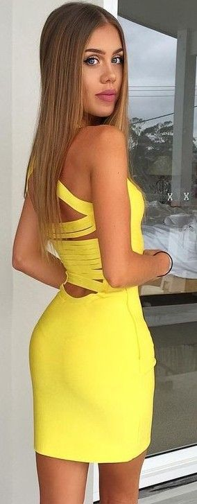 #summer #young #style #outfits | Back Details Yellow Little Dress
