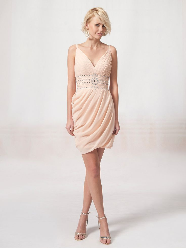 V Neck Bridesmaid Dress with Beaded Waistband. I wouldn't want this for