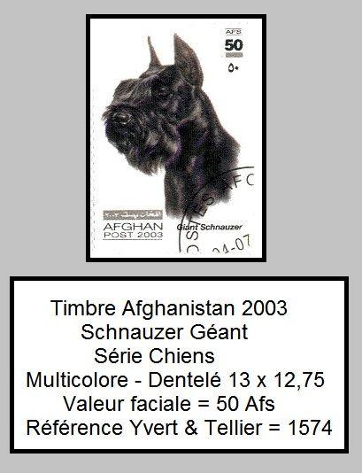 Timbres Afghanistan chiens Schnauzer Géant ========================= Image.=> http://wamiz.com/chiens/schnauzer-275 ========================= Afghanistan 2003 - Chiens Série => https://fr.pinterest.com/pin/121526889922385046/ ========================= Cotation 2011 = 5,00 € - 5,00 € ========================= Bonjour, pour les bijoux Gaby Féerie => http://www.alittlemarket.com/boutique/gaby_feerie-132444.html