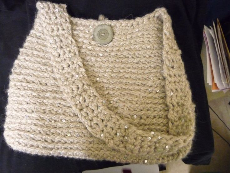 "Beige Crocheted Boho Chic Retro Hobo Style Bag Handmade 12""x12"" #Handmade #Hobo"