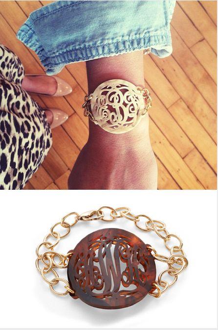 Acrylic Monogram Tortoise Bracelet makes a beautiful gift.