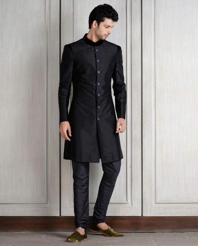 Resham Embroidered Black Sherwani Set - Shop Men's