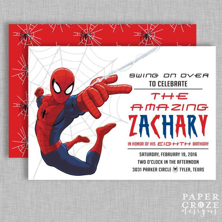 Spiderman Birthday Party Invitation by PaperCrazeDesigns on Etsy https://www.etsy.com/listing/261753049/spiderman-birthday-party-invitation