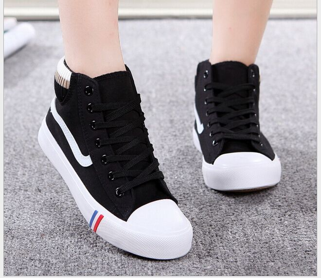 Autumn/Winter Fashion High Top Canvas Shoes For Women Casual Shoes Students Breathable Flats