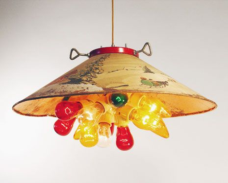 Love this! Pendant lamp made from a vintage Christmas tree stand!!!