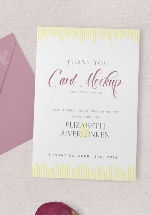 Produce A Power Presentation Of Your Designs In No Time With This Amazing Thankyou Card Mockup Free Freebie Psd Photoshop Stationery
