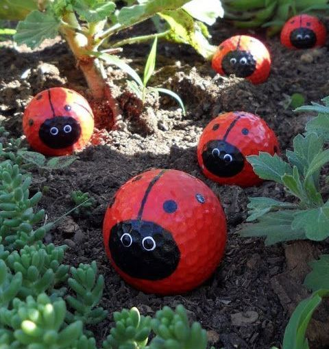 Planning a TREASURE HUNT for the kids birthday party? Why not upcycle some old golf balls into ladybugs & hide them around the garden! Other treasure hunt ideas: https://secure.zeald.com/under5s/results.html?q=looking+for+hidden+treasure