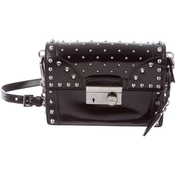 Pre-owned Prada Spazzolato Studded Mini Sound Bag (€445) ❤ liked on Polyvore featuring bags, handbags, shoulder bags, black, mini handbags, shoulder bag purse, man bag, shoulder hand bags and man shoulder bag