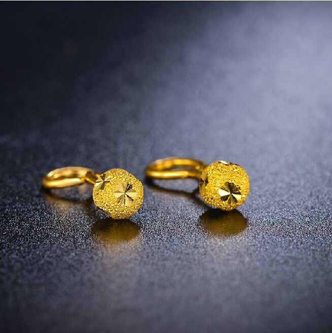 Pure 999 24K Yellow gold Stud Carved Ball Earrings 1.34g