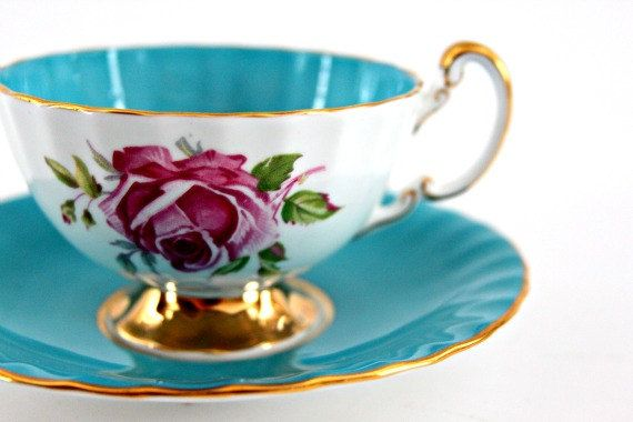 vintage tea cup and saucer Aynsley 1930s bone china by beautyfound on etsy. Love this one!!