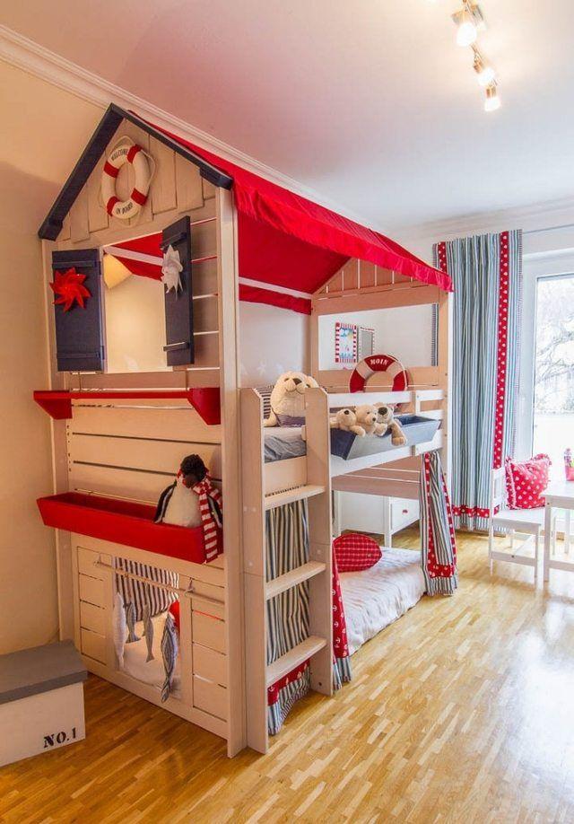 Etagenbett mit Satteldach-Kinderzimmer im nautischen Stil einrichten