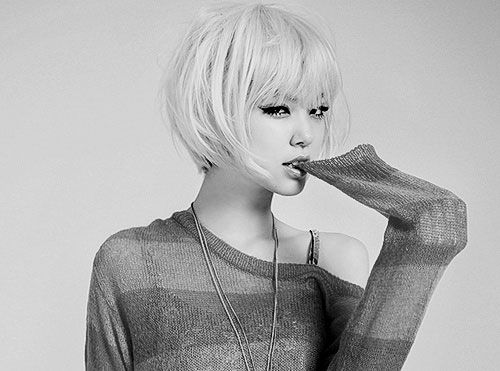 Style idea for growing out the chop. I like the softer look of this bob; again, dunno about the bangs.