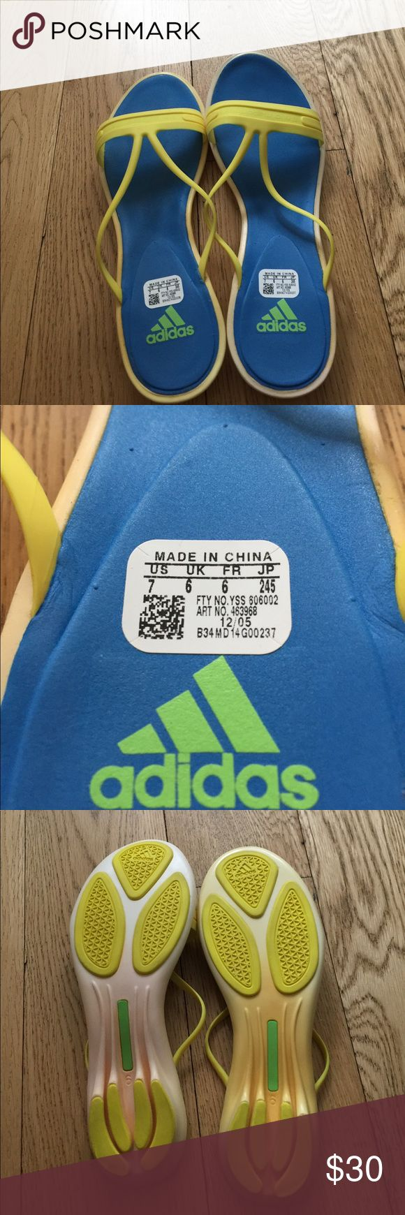 Stella McCartney Adidas Blue/Yellow Flip Flops Size 7. Like new! Adidas by Stella McCartney Shoes Sandals