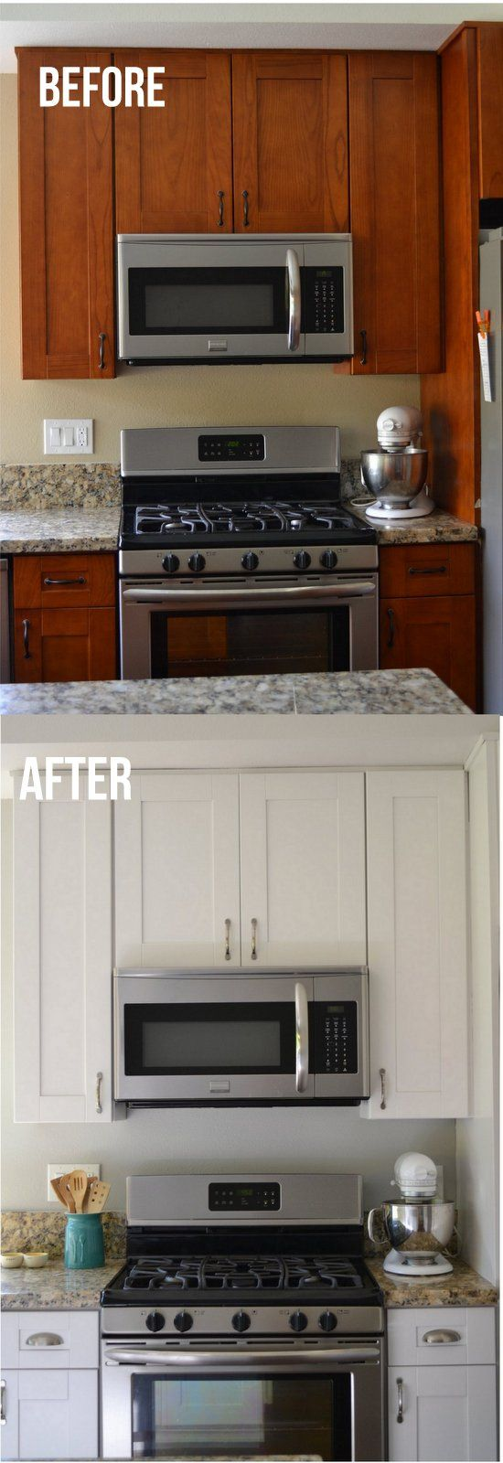 """Sherwin Williams """"Snowbound"""" on cabinets and """" Light French Gray"""" on walls looks great with stainless steel appliances in this fresh kitchen re-do."""